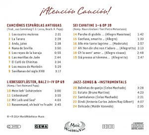 Atenion Cancion WWV CD Rückseite