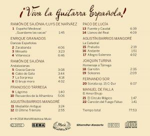 Rückseite CD Viva la Guitarra Espanola